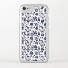 Summer Garden Indigo II Floral Pattern Clear iPhone Case