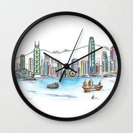 Hong Kong Harbour View Sketching Wall Clock