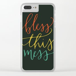 Bless this mess color typography Clear iPhone Case