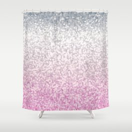 Silver and Pink Glitter Ombre Shower Curtain