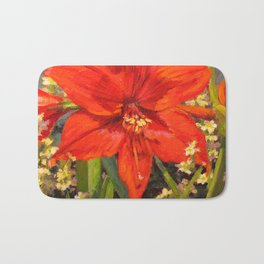 Lone Beauty — Red Daylily Blossom by L Diane Johnson Bath Mat