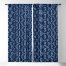 Indigo blue stylized ethnic leaf pattern. Blackout Curtain