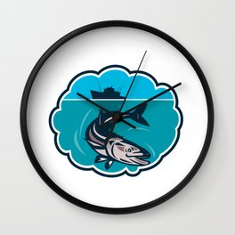 Cobia Fish Fishing Boat Bubble Retro Wall Clock