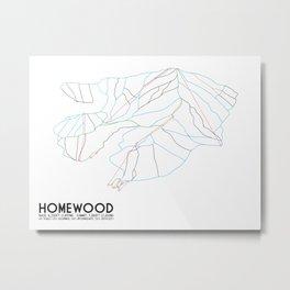 Homewood Ski Resort, CA - Minimalist Trail Art Metal Print