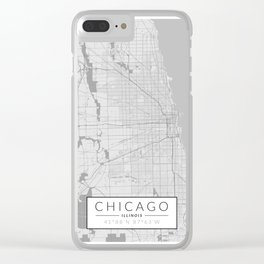 Chicago Map - Black and White (Light) Clear iPhone Case