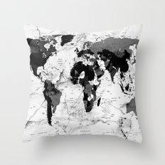 world map political marble Throw Pillow