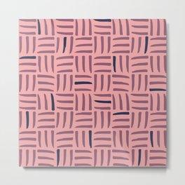 Pink Hatching Doodle - Southwest Floral Sunrise Metal Print
