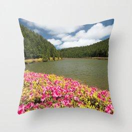 Azaleas and lake in Azores Throw Pillow