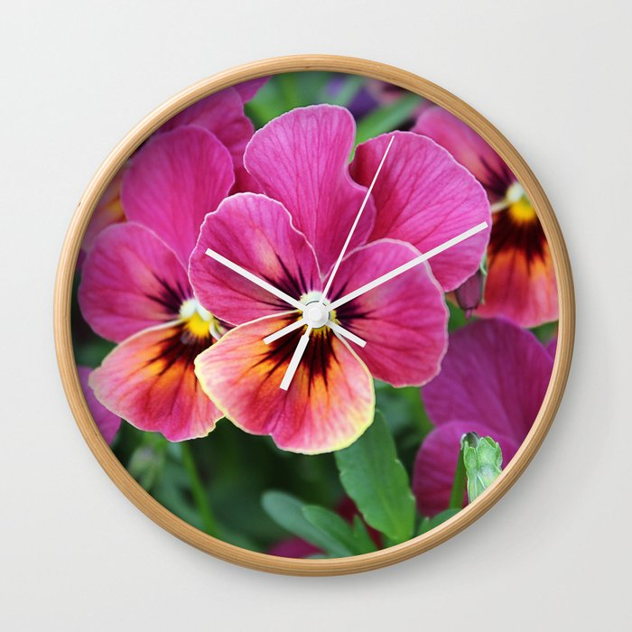 Pink Pansy Flower Wall Clock