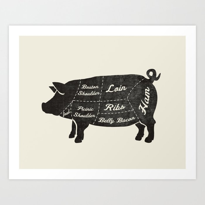Pork Butcher Diagram  Pig  Art Print By Kitchenbathprints