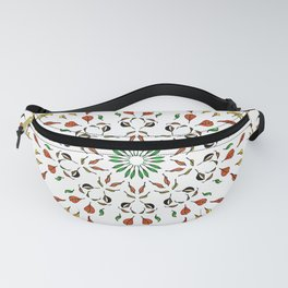 autumn leaves yellow brown red green mandala Fanny Pack