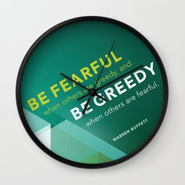 Buffett | Be Fearful When Others Are Greedy | Green Wall Clock