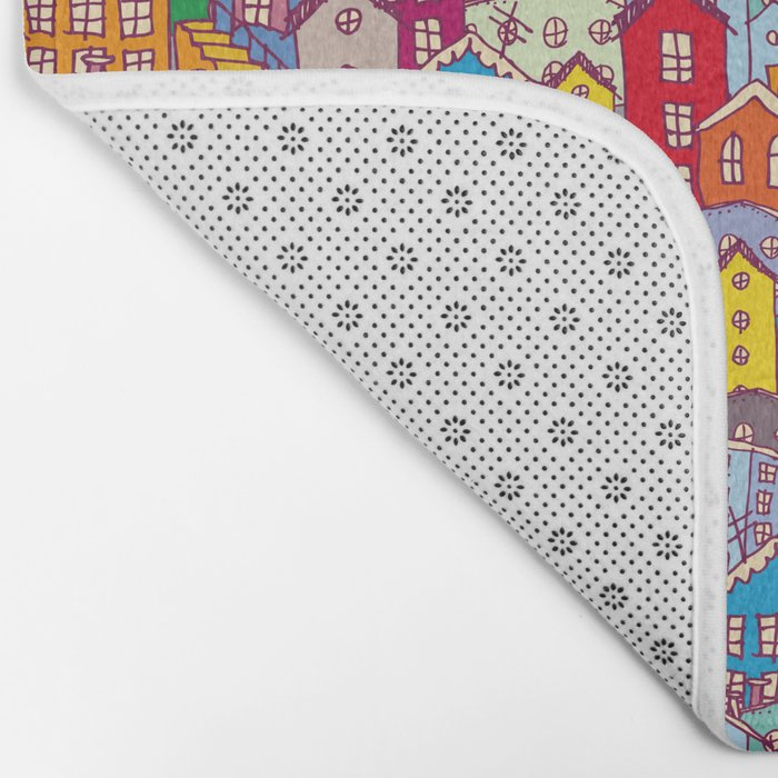 Cityscape Sketch Bath Mat