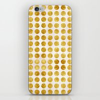 gold dots iPhone & iPod Skins featuring Gold Dots by MBJP BLACK LABEL