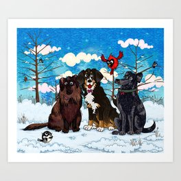 Three Dogs Posing in Winter Art Print