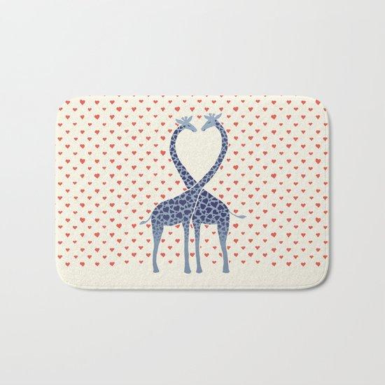 Giraffes in Love - a Valentine's Day illustration Bath Mat