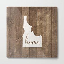 Idaho is Home - White on Wood Metal Print