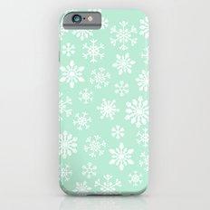 minty snow flakes iPhone 6s Slim Case