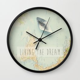 Map - living the dream Wall Clock