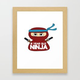 9th Birthday Ninja Party Samurai Ninjas Gift Japanese Ninja stars Fighter Gift Framed Art Print