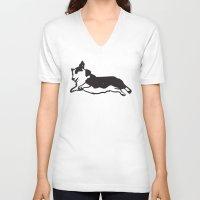 corgi V-neck T-shirts featuring CORGI by Pollo