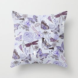 Dragonflies, Butterflies and Moths With Plants on Pale Blue Throw Pillow