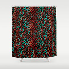 Teal and Red Leopard Animal Pattern Shower Curtain
