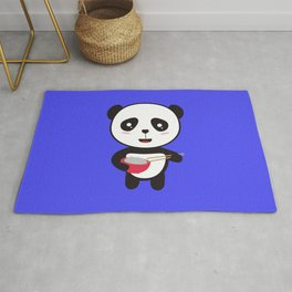Cute Panda with rice bowl Rug