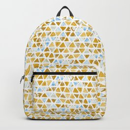 Triangle Watercolor Seamless repeating Pattern - Blue & orange  - grunge effect Backpack