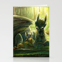 hiccup Stationery Cards featuring Hiccup and Toothless by PuppyChowArts