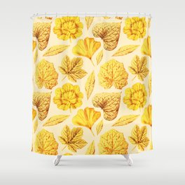 YELLOW LEAVES pattern  Shower Curtain