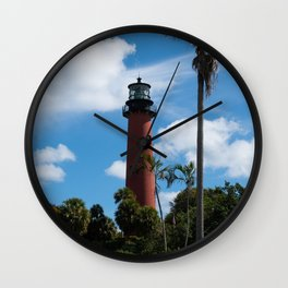 Jupiter Lighthouse Color Tropical / Coastal Landscape Photograph Wall Clock