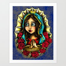 Lady Of Guadalupe (Virgen de Guadalupe) BLUE VERSION Art Print