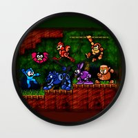 megaman Wall Clocks featuring Megaman Woodman by likelikes