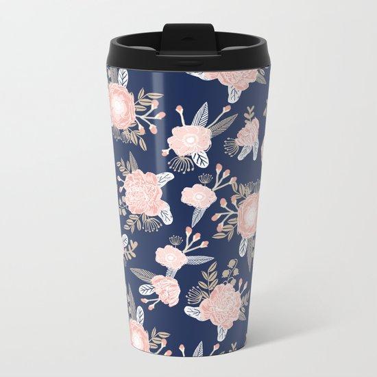 Floral bouquet pastel navy pink florals painted painted metallic pattern basic minimal pattern print Metal Travel Mug