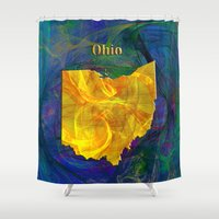 ohio Shower Curtains featuring Ohio Map by Roger Wedegis