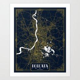 Kolkata City Map of India - Gold Art Deco Art Print