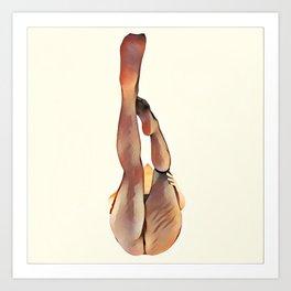 8283s-SLG Legs Up Woman in Mesh Stockings Watercolor Render Art Print