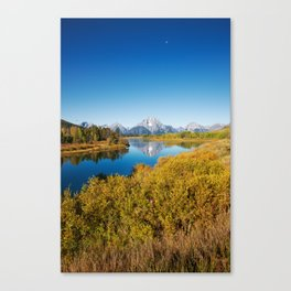 Near the Snake river looking toward Mount Moran in the Grand Tetons. Canvas Print