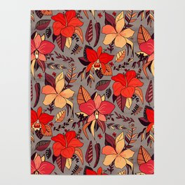 Red Tropical Floral Poster