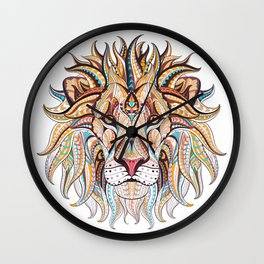 Ethnic Tribal Lion Doodle 03 Wall Clock