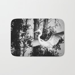 Great Egret In The Trees Bath Mat