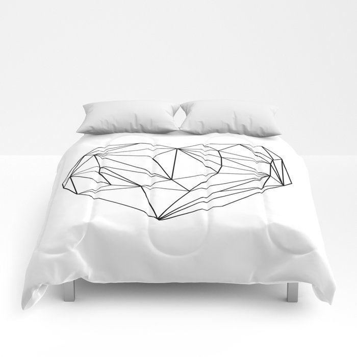 heart graphic black on white comforters by maboe society6