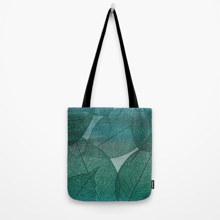 Painterly Green And Blue Leaf Abstract Tote Bag