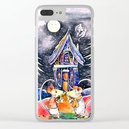 Christmas Mice Clear iPhone Case