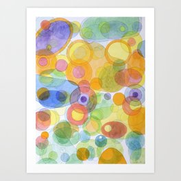 Vividly interacting Circles Ovals and Free Shapes Art Print