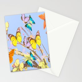 Playing butterflies on a summer day - lovely blue sky background - cheerful and happy Stationery Cards