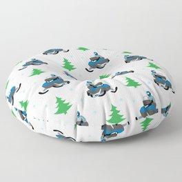 Snowmobile Pattern (blue) Floor Pillow
