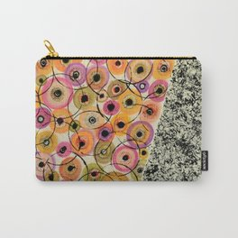 Circles and Flowers- Yellow Carry-All Pouch