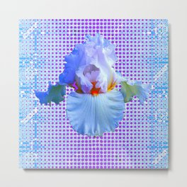 AWESOME BLUISH-WHITE PASTEL IRIS OPTICAL ART Metal Print
